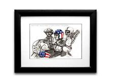 EASY RIDER DRAWING/PAINTING CARICATURE MOUNTED AND FRAMED GREAT VALUE!