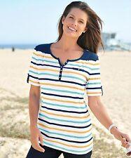Size 14 Damart Button Short Sleeve T-Shirt Indigo Stripe Nautical/Top/Blue/NEW
