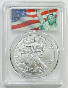 2017 $1 Silver Eagle PCGS MS70 First Strike Statue of Liberty Flag Label