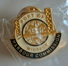 Port of Windsor Harbour Commission Lapel Pin Pinback Ontario Detroit Bridge Logo