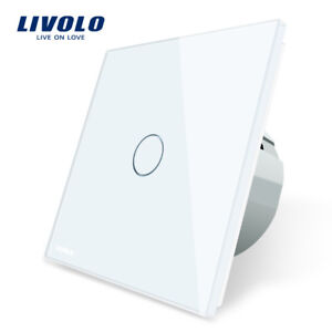 Livolo EU Standard Switch Wall Touch Switch Crystal Glass 1 Gang 1 Way Switch AC