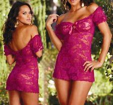 Hot Sexy Lingerie Sleepwear Babydoll Nightdress Dress G-string purple one size