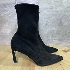 Stuart Weitzman Rapture Black Size 9.5 Suede Booties Ankle Heeled Pointed Boots