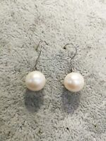 11mm Round White Freshwater Pearls Dangle Earrings 925 Sterling Silver Hook