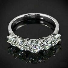Round Cut V Shape Prong 5 Stone Trellis Engagement Wedding Band Ring 925 Silver