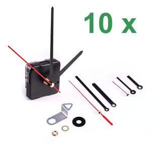 10 x Quarzuhrwerk mit 10x3 Zeigersätzen (30) Uhr Alu Zeiger Quarz Uhrwerk