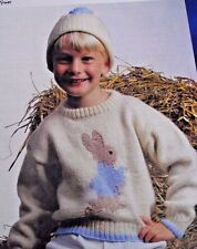 "KNITTING PATTERN VINTAGE CHILDREN'S PETER RABBIT JUMPER/SWEATER & HAT 24"" - 30"""