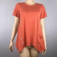 LOGO Lori Goldstein Womens S Orange Cotton Modal Top Short Sleeve Buttons Flawed