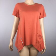LOGO Lori Goldstein Womens S Orange Cotton Modal Top Short Sleeve Buttons Flawed