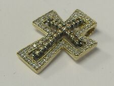14K  SOLID GOLD WHITE AND CHOCOLATE DIAMOND CROSS 0.34CT