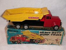 Vintage Japan Western Heavy Duty Hydraulic  Dump Truck Tin Friction Toy MIB Mint