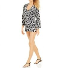 340feaecd1 Kenneth Cole Women's Ikat-Print Tunic Swimsuit Cover Up, Black/White, Small