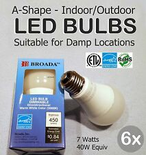 6x Lot - LED 7w Bulbs Dimmable A19 E26 Indoor/Outdoor Damp Loc 40w Equiv-Broada