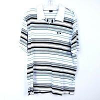 OAKLEY Polo Shirt Logo White Black Blue Stripe Cotton Short Sleeve Men's size XL