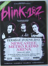 BLINK 182 : Newcastle 2012 -CONCERT FLYER- MINT