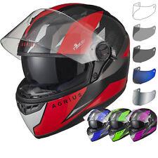 Agrius Rage SV Fusion Motorcycle Helmet & Visor Sun Visor Pinlock Ready Crash