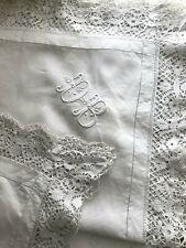 Antique PAIR French PILLOW SHAMS linen FIL PUY lace edging DB mono c1900