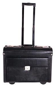 Large Quality Leather Pilot Case Wheeled Laptop Trolley Flight Bag Hand Luggage