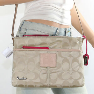 NWT Coach Legacy Nylon Shoulder Bag Crossbody Hippie 24861 Khaki New RARE