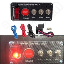 12V LED Toggle Ignition Switch Panel Engine Start Push Button Set for Racing Car
