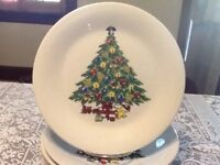 Vintage White Dinner Plates Christmas Tree Angel Top by LILING