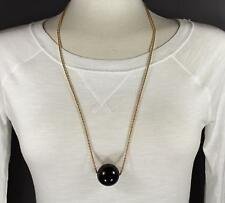 "Black big huge faux pearl necklace bead beaded 29"" long statement sweater gold"