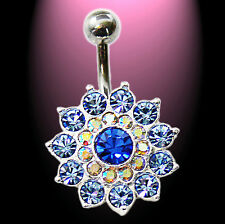 Titan Bauchnabelpiercing große Blüte blau 925 Silber