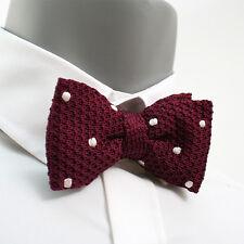 VoiVoila New Men's Tuxedo hand made Waffled Knit Burgundy Pre-Ties Bow Tie