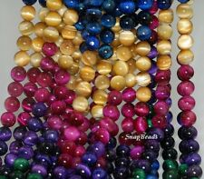 """8MM TIGER EYE GEMSTONE GRADE AAA GOLD BLUE GREEN RED ROUND 8MM LOOSE BEADS 15.5"""""""