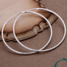 51mm Round Vogue Hoop Earrings #E115 Womens 925 Sterling Silver Classic Large