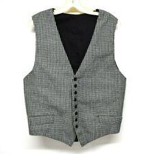"Reenactment Victorian Edwardian 1800s Black White Houndstooth Waistcoat Vest 44"""