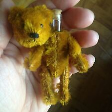 "EARLY RARE ANTIQUE MINIATURE 3.5"" MOHAIR SCHUCO PERFUME BEAR MUST SEE NO RES!"