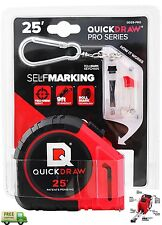 Tape Measure Quickdraw 25' Ft Precision Contractor Self Marking Pro Built In USA