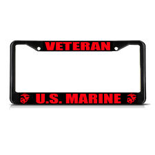 VETERAN U.S. MARINE Black Metal Heavy Duty License Plate Frame Tag Border