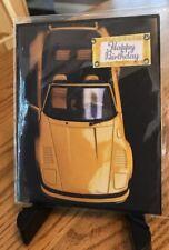 Birthday Card Yellow Sports Car Convertible Fun Black Card Blank Inside Handmade