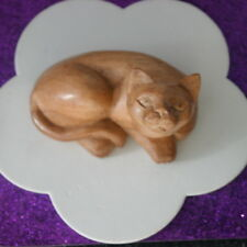 Beautiful Hand Carved CAT In Suar Asian Wood  With  9  x 5.5 Cm. Wide
