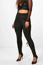 Ladies Size 16 Black Stirrup Leggings lace detail on legs Womens Boohoo