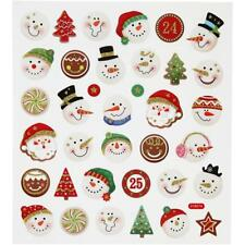 Fancy Self Adhesive Snowmen Stickers Sheet For Card Christmas Decorations Crafts
