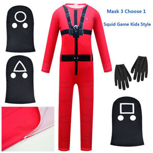 Kids Squid Game Villain Red Jumpsuit Cosplay Costume Halloween Party Outfits