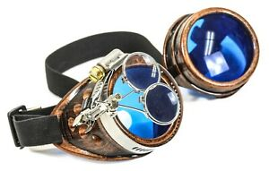 Mad Scientist Steampunk Goggles Crazy Burning man Cosplay Costume Copper Blue