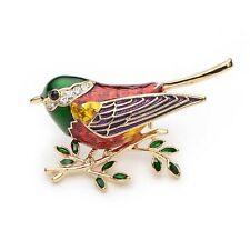 Broche pour femme oiseau émail multicolore Crystal