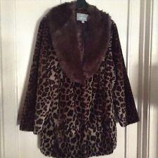 Dennis Basso Platinum Animal Print Faux Fur Coat Gray Multi 2X New $124.99