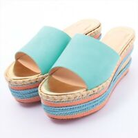 Christian Louboutin Suede Wedge Sole Sandals 37 Ladies Multicolor