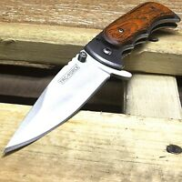 "7"" TAC FORCE BROWN WOOD SPRING ASSISTED FOLDING TACTICAL POCKET KNIFE Open Blade"