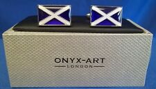 CUFFLINK SET - SCOTLAND OR SCOTTISH FLAG SALTIRE CROSS OF ST ANDREW (CK114)