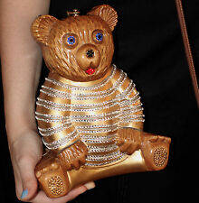 TIMMY WOODS SWAROVSKI CRYSTAL TEDDY BEAR & JUDITH LEIBER PURSE MIRROR CLUTCH