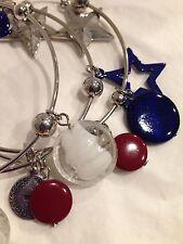 NWT COLORS Bangled Bracelets July 4th red blue stones stars