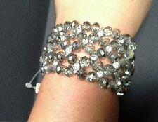 Crystal Faceted Rondelle Beads & Rhinestones Stretch Bracelet
