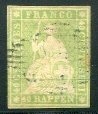 1854 Svizzera Strubel 40 r verde usato con cert.