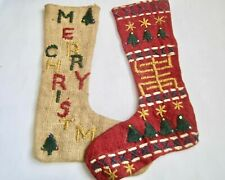 2 VTG Burlap & Jute Embroidered Christmas Stockings Double Sided Rustic Cabin